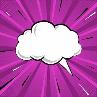 Texto na nuvem de fala em design de estilo cômico