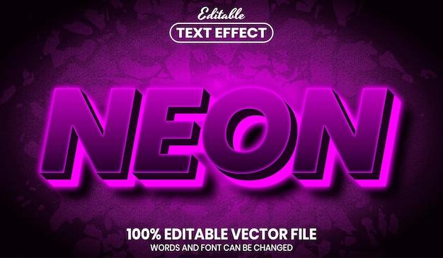 Texto neon, efeito de texto editável de estilo de fonte
