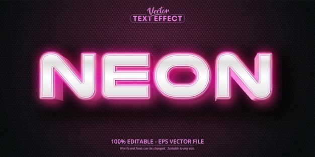 Texto neon, efeito de texto editável no estilo rosa