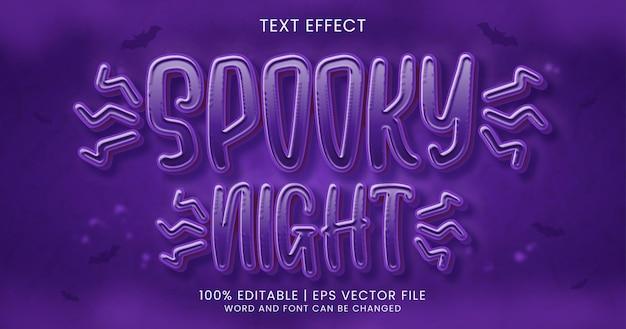 Texto noturno assustador, modelo de estilo de efeito de texto editável de terror 3d