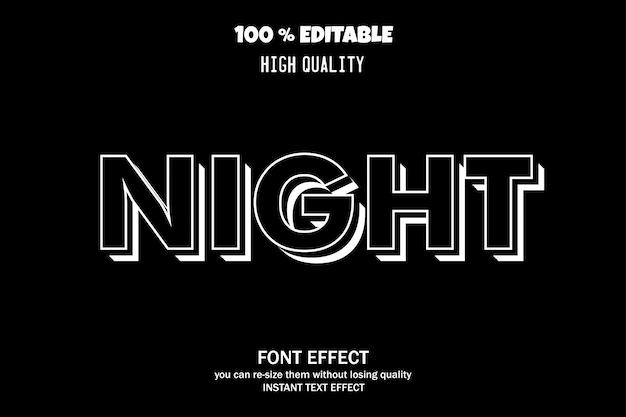 Texto noturno, efeito de fonte editável