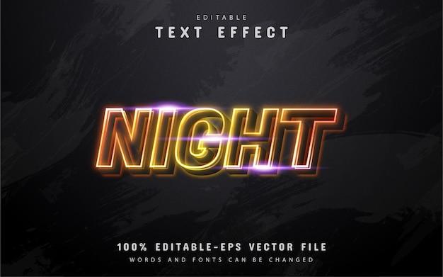Texto noturno, efeito de texto estilo neon amarelo
