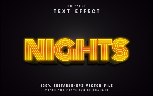 Texto noturno, efeito de texto neon amarelo