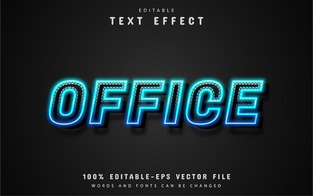 Texto office, efeito de texto neon azul