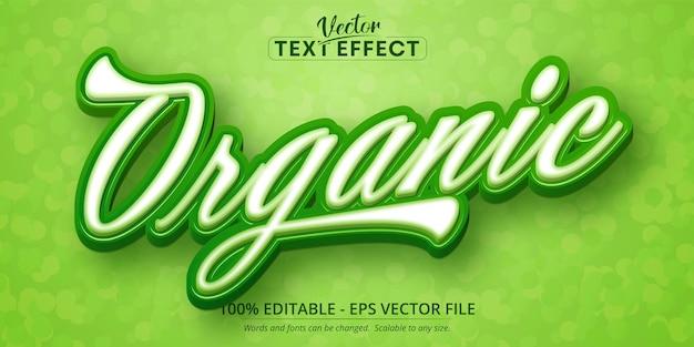 Texto orgânico, efeito de texto editável no estilo desenho animado