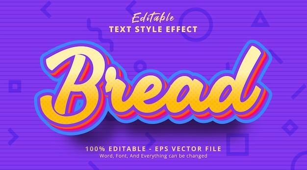 Texto pão com efeito de texto de cor clara, efeito de texto editável