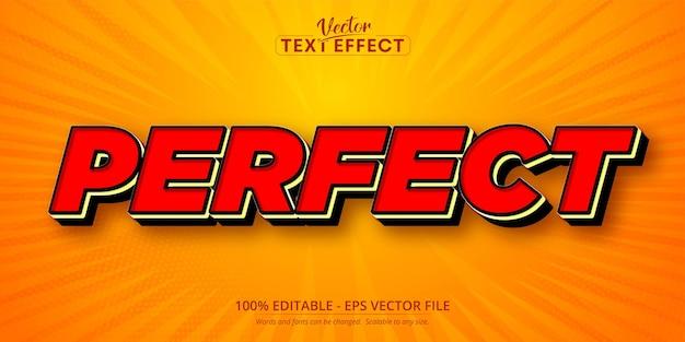 Texto perfeito, efeito de texto editável no estilo desenho animado