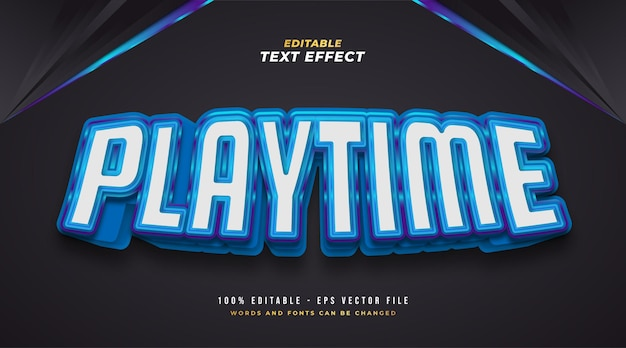 Texto playtime em azul e branco com efeito 3d. efeito de texto editável