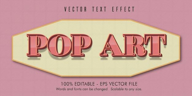 Texto pop art, efeito de texto editável de estilo antigo