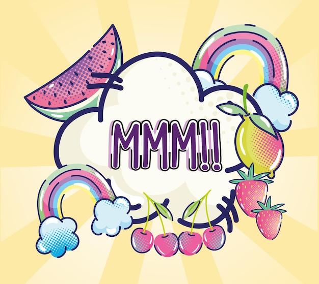 Texto pop art fruta arco-íris nuvem cômico ilustração de meio-tom