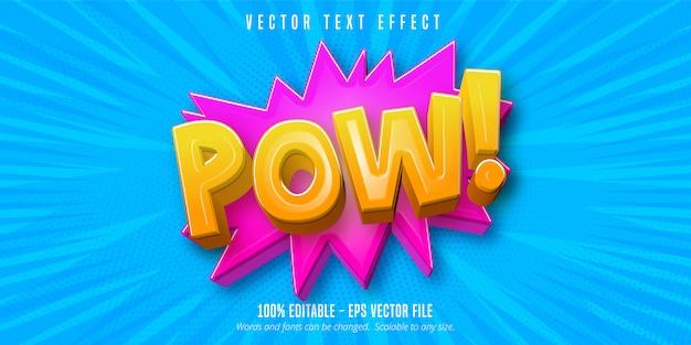 Texto pow, efeito de texto editável de estilo cômico