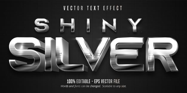 Texto prateado brilhante, efeito de texto editável de estilo metálico