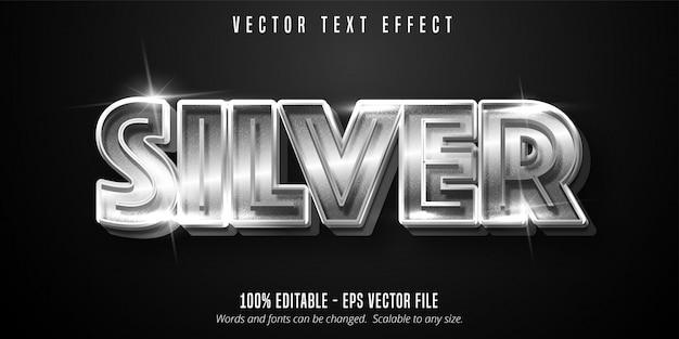 Texto prateado, efeito de texto editável de estilo metálico brilhante