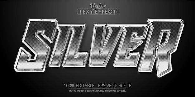 Texto prateado, efeito de texto editável de estilo prateado brilhante
