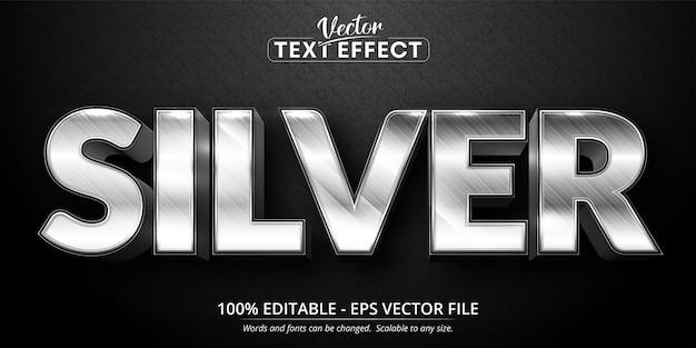 Texto prateado, efeito de texto editável estilo prateado brilhante