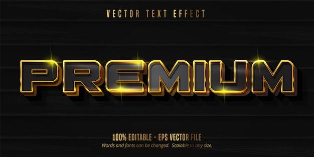 Texto premium, efeito de texto editável no estilo ouro brilhante e preto
