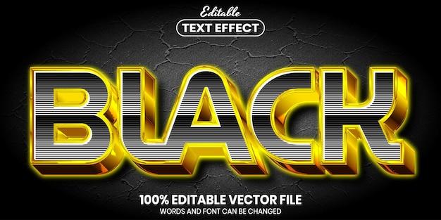 Texto preto, efeito de texto editável de estilo de fonte