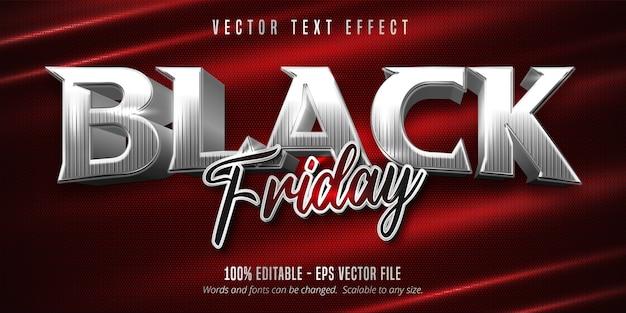 Texto preto sexta-feira, efeito de texto editável estilo prata