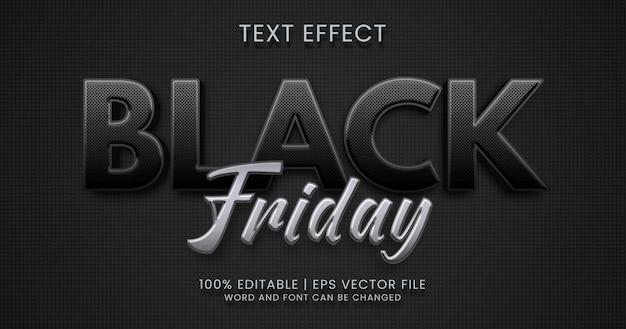 Texto preto sexta-feira, modelo de estilo de efeito de texto editável