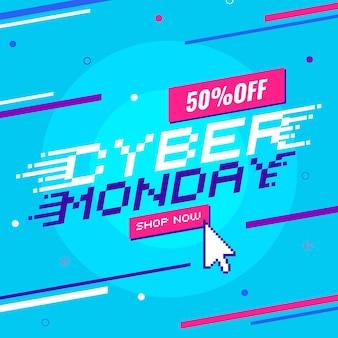 Texto promocional de segunda-feira cibernética plana