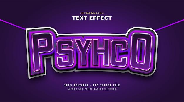 Texto psicótico no estilo e-sport roxo com efeito curvo. efeito de estilo de texto editável