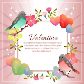 Texto quadrado da decoração do pássaro dos pares do valentim