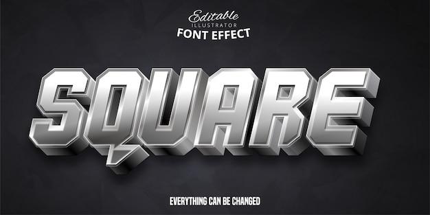 Texto quadrado, efeito de fonte editável em 3d