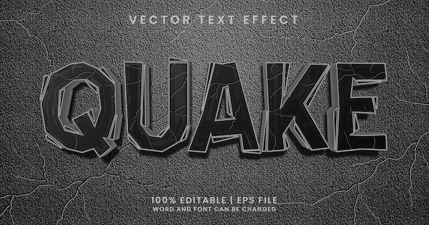 Texto quake, estilo de efeito de texto texturizado editável