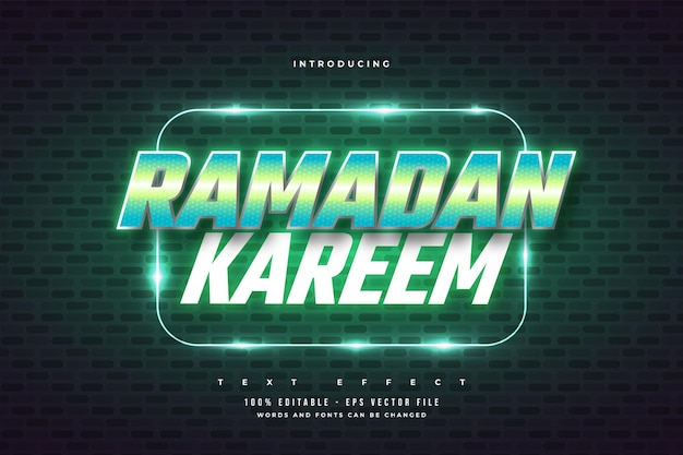 Texto ramadan kareem em estilo retro verde e efeito neon brilhante