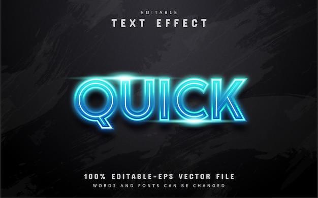 Texto rápido, efeito de texto estilo neon azul