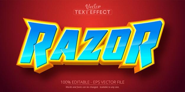 Texto razor, efeito de texto editável em estilo cartoon