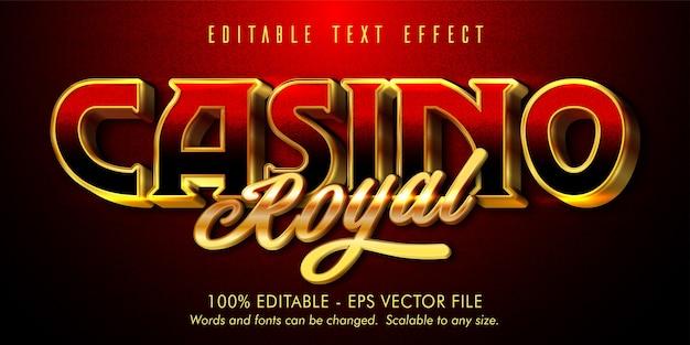 Texto real do cassino, efeito de texto editável estilo ouro brilhante