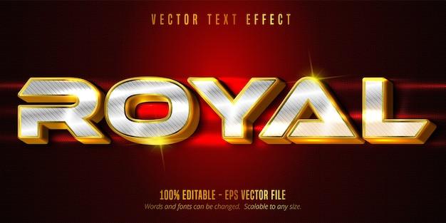 Texto real, efeito de texto editável de luxo dourado e prata no plano de fundo texturizado