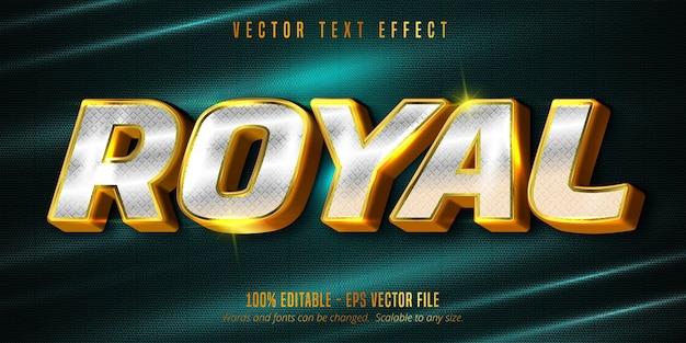 Texto real, efeito de texto editável de luxo dourado e prata