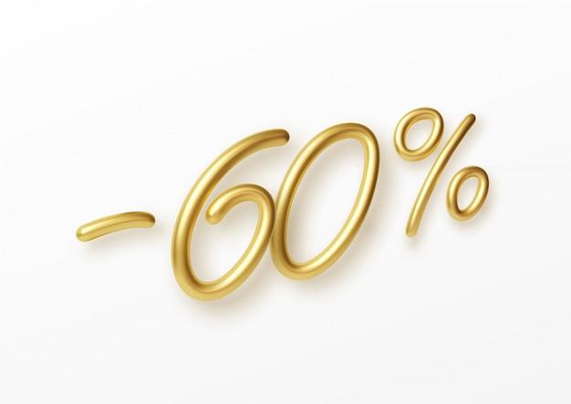 Texto realista de ouro, número de 60% de desconto