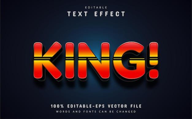 Texto rei, efeito de texto com linha Vetor Premium