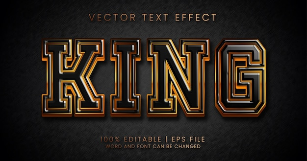 Texto rei, estilo de efeito de texto editável