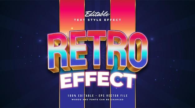 Texto retro colorido com estilo de jogo de pixel e efeito de néon brilhante. efeito de estilo de texto editável