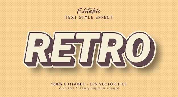Texto retrô com efeito de estilo de cor vintage, efeito de texto editável