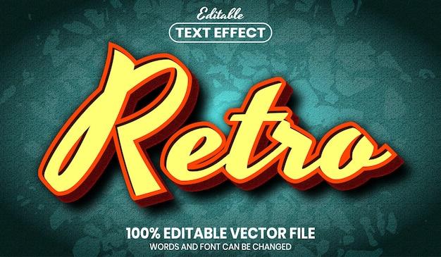 Texto retrô, efeito de texto editável de estilo de fonte