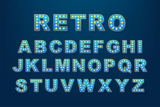 Texto retro leve, ótimo para qualquer finalidade. alfabeto de lâmpada retrô. ilustração das ações.