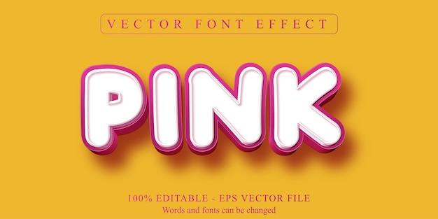 Texto rosa, efeito de texto editável no estilo desenho animado