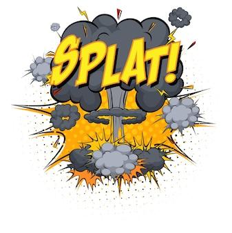 Texto splat sobre explosão de nuvem em quadrinhos isolada no fundo branco