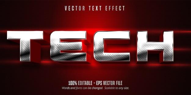 Texto técnico, efeito de texto editável estilo prata metálico