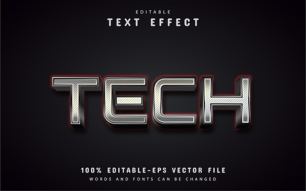 Texto técnico, efeito de texto estilo prateado