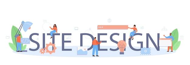 Texto tipográfico e ilustração do design do site.
