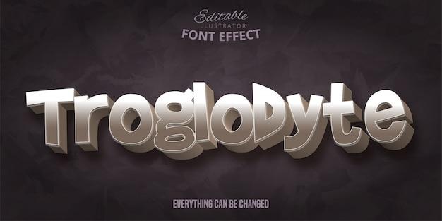 Texto troglodita, efeito de fonte editável do estilo de pedra 3d
