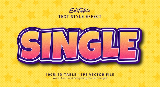 Texto único em efeito de estilo gradiente de cor clara, efeito de texto editável