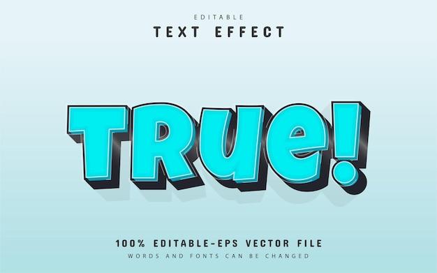 Texto verdadeiro, efeito de texto 3d azul