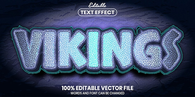 Texto vikings, efeito de texto editável de estilo de fonte